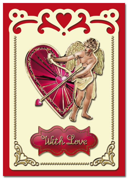 Valentine card 3D Cupid