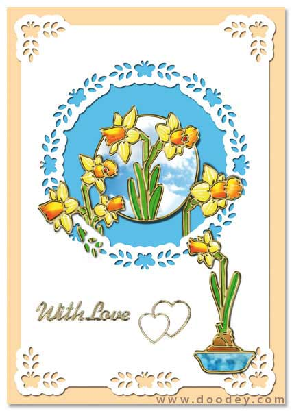card with daffodils