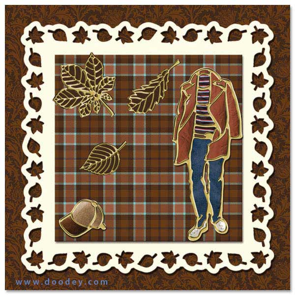 card with autumn leaves, cap and fashion clothes
