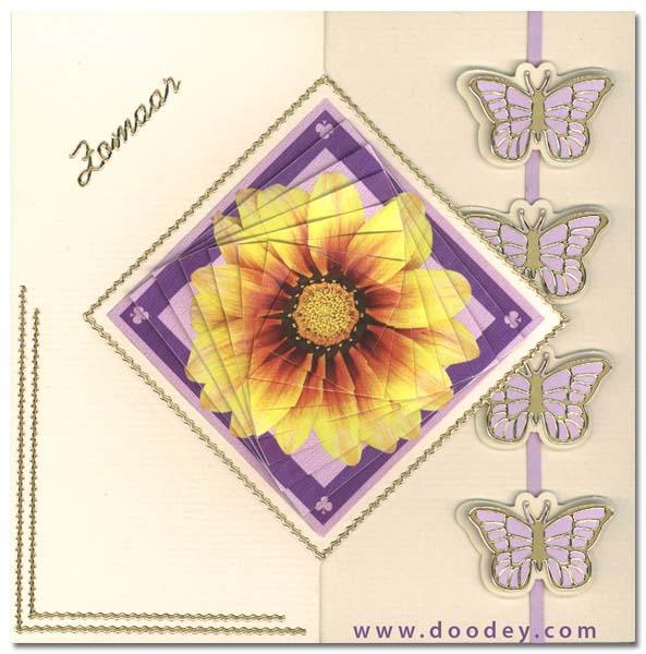 3D pyramids card butterflies and flower