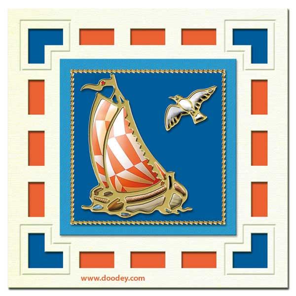 marine card with sailing ship