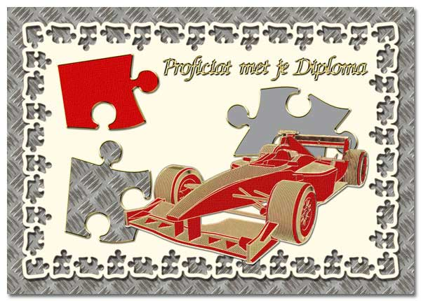 card with F1 racing cars