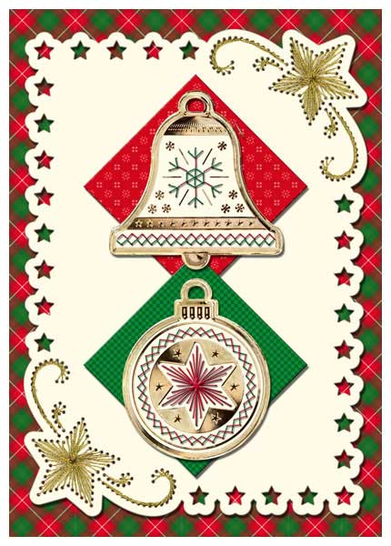 embroidered christmas card with bell and bauble