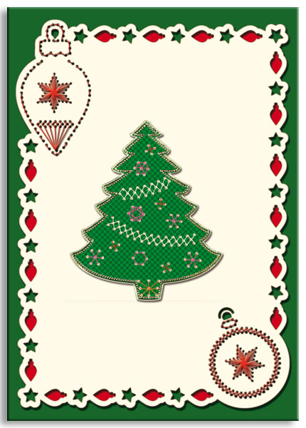 embroidered christmas card with tree