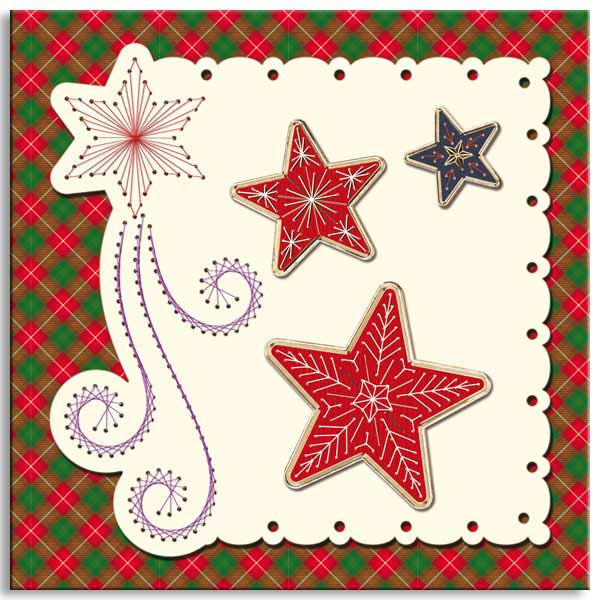embroidered christmas card with stars