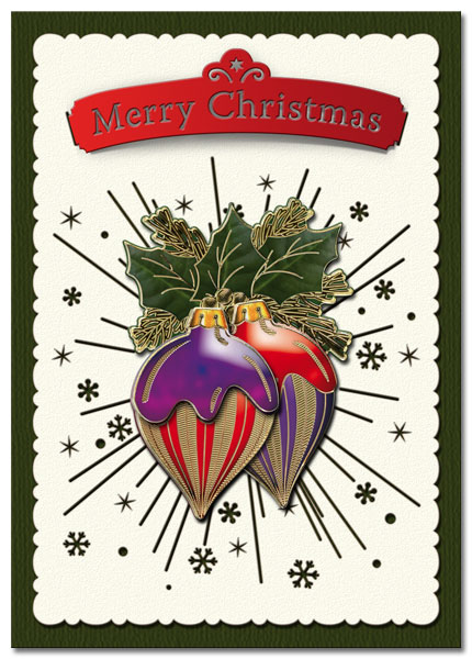 3D christmas card with baubles