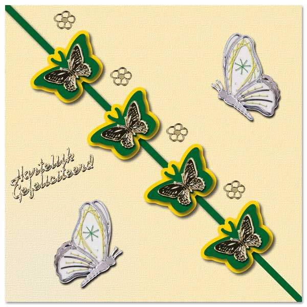birthday card with butterfly and embroidery