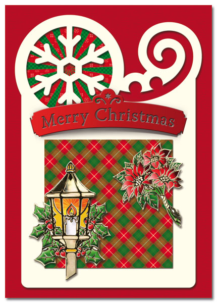 christmas card with streetlamp and flowers