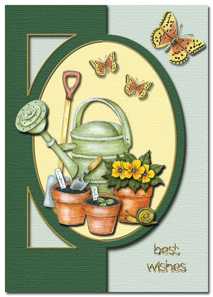 card with plants, watering-can and butterflies