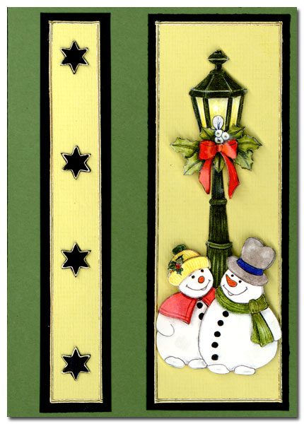 Christmas card with 2 snowmen and a lantern