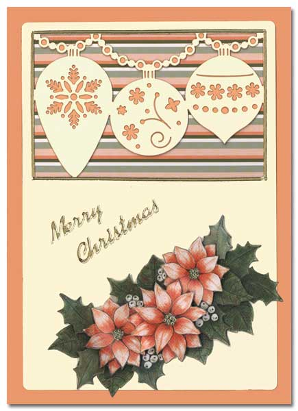 Christmas card with flowers and christmas balls