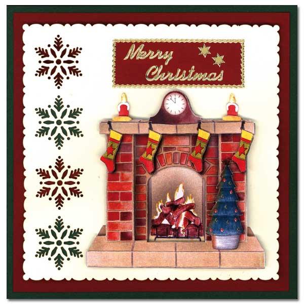 Christmas Card with Christmas tree and fireplace