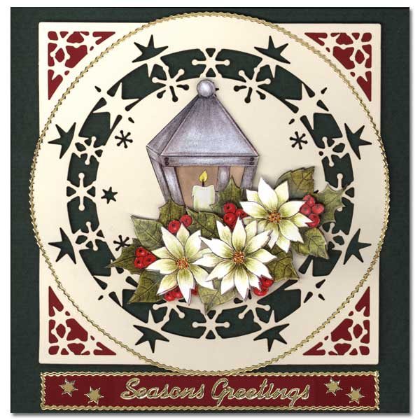 christmas card with flowers and lantern