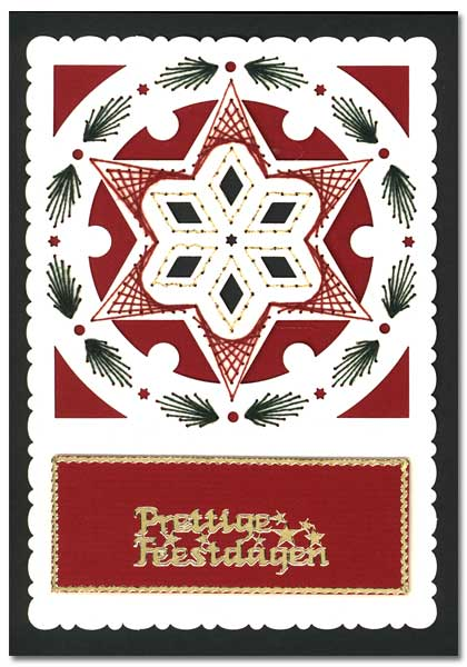 christmas card with star in wreath