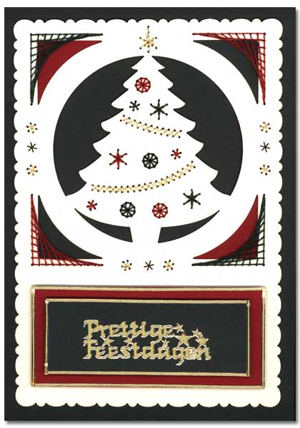 card with embroidered christmas tree