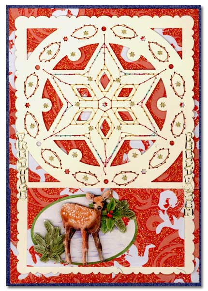 embroidered christmas card with dear