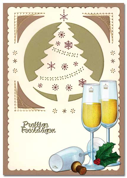 embroidered christmas card with champaign