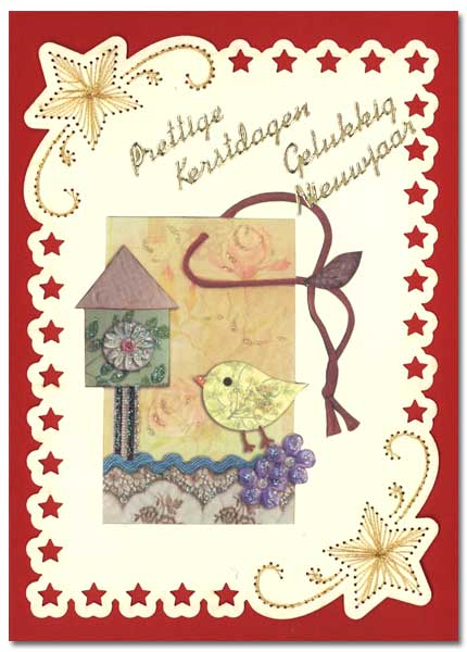 embroidered christmas card with little bird