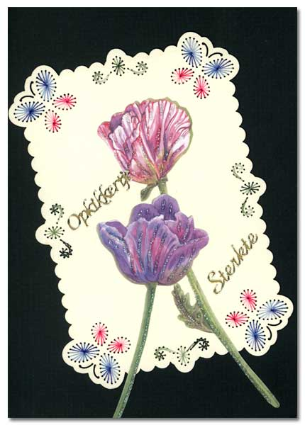 embroidered card with flower