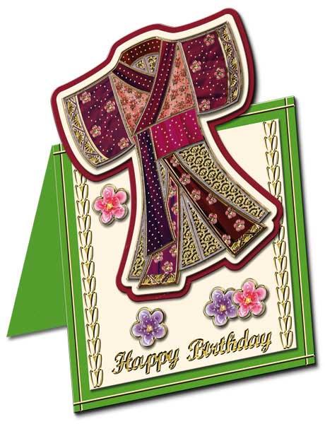 oriental card with kimono