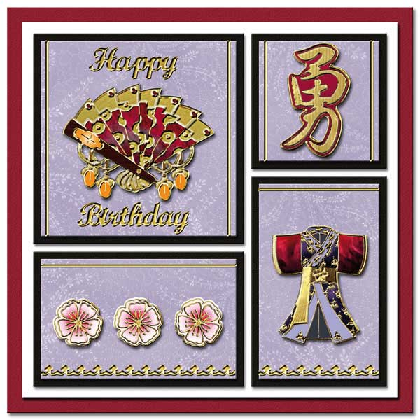 oriental card with fan and kimono