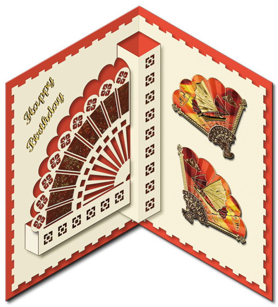 oriental pop-up card with fans