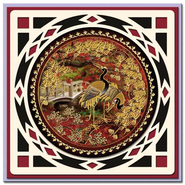 oriental card with birds
