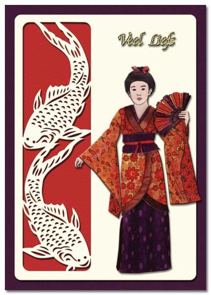oriental card with geisha