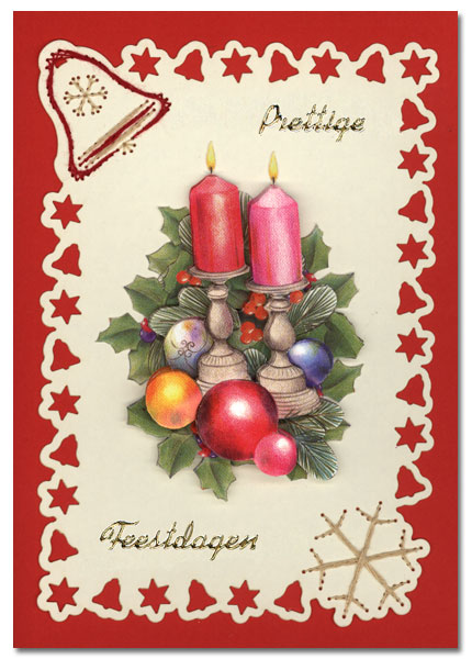 embroidered christmas card with candlesticks