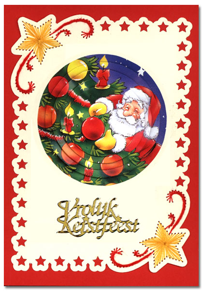 embroidered christmas card with santa claus