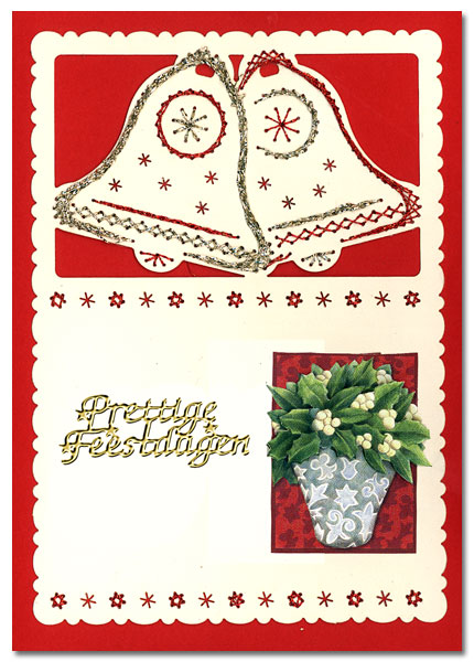 embroidered christmas card with bells
