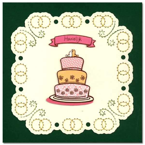 embroidered wedding card with cake