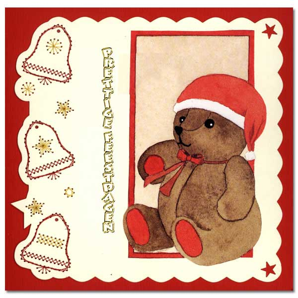 embroidered christmas card with teddy bear