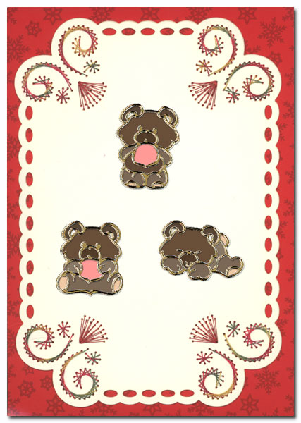 embroidery card with teddy bears