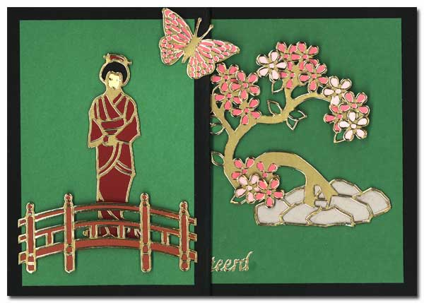 Card with oriental tree and geisha