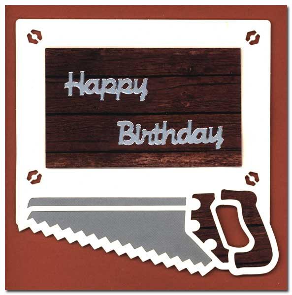 birthday card with saw