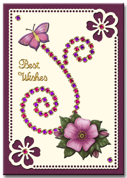 Flower card with strass-stickers