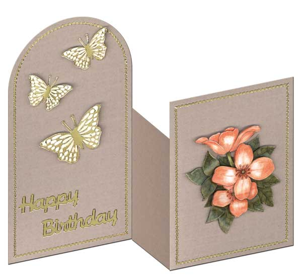 Zigzag card with flowers and butterflies