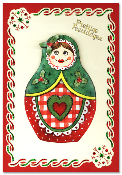 card with matruska and dots