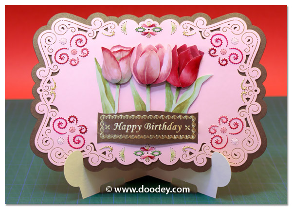 stand-easy card a5 with 3D tulip