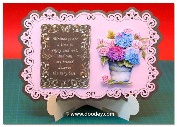 stand-easy card a5 with 3D hydrangea