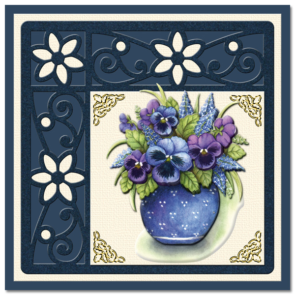 card with pansies