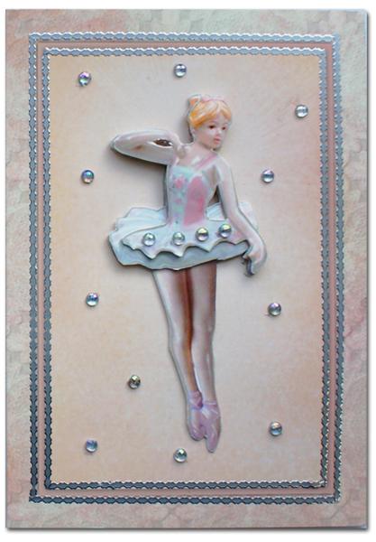 dress up card with ballerina