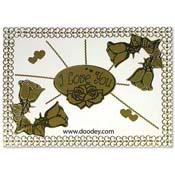 liefdes kaart roosjes en barok randje