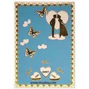 liefdes kaart met vlinders en kussend paar