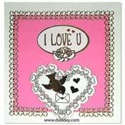 liefdes kaart met vogeltje en I love U