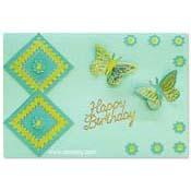 verjaardagskaart met vlinders en bloemen