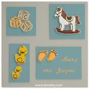 geboorte kaart paard eendjes voetjes