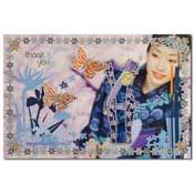 bedankt kaart chineese jurk met vlinders