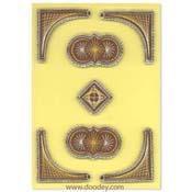 borduur kaart hoekjes met cirkels en vierkant